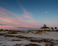 Moonrise at Dawn over Boca Lighthouse
